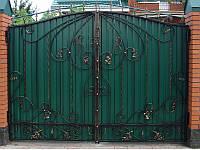 Ворота ковані  з профнастилом