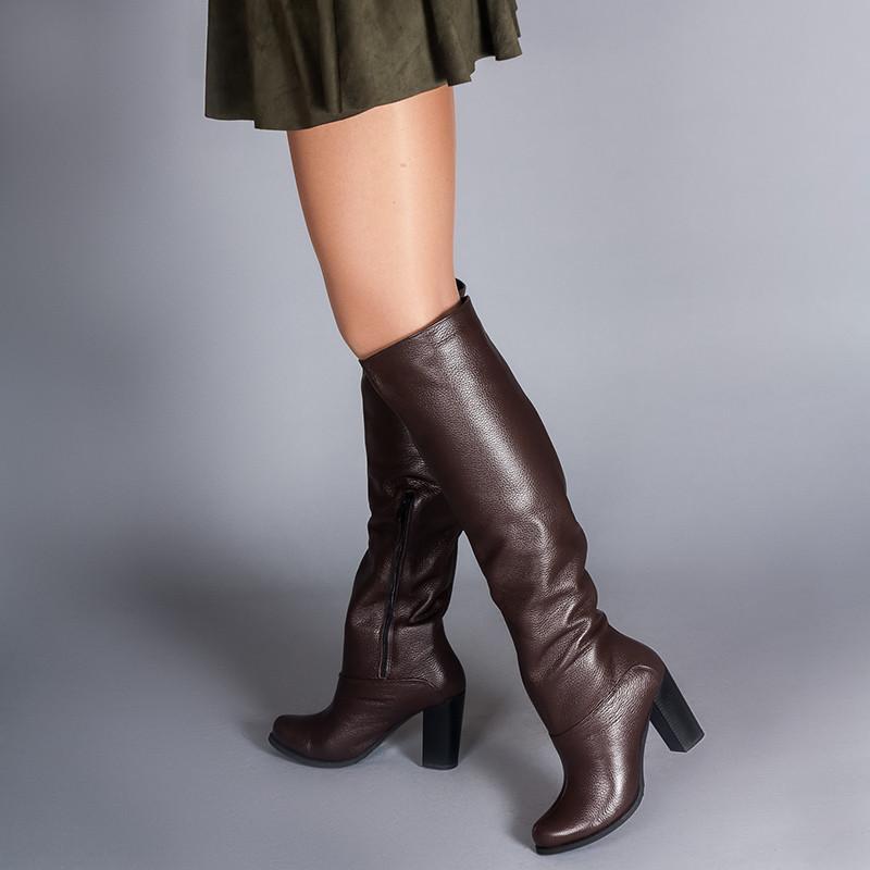 Женские коричневые сапоги высокие на каблуке. Индивидуальный пошив. Цвет и утеплитель на выбор