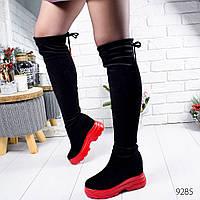 Ботфорты женские черные с красным Irene 9285