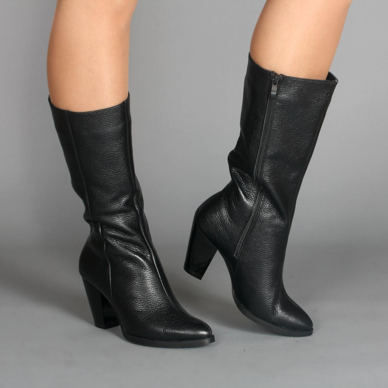 Сапоги невысокие женские на каблуке.Натуральная кожа. Зима, деми.