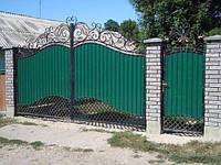 Ковані ворота з профнастилом та хвірткою