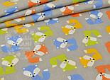 Отрез ткани №839  с разноцветными лисичками на сером фоне, размер 80*160, фото 2