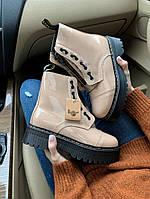 Зимние кожанные ботинки Мартинс DR MARTENS Jadon White Black (НА МЕХУ), фото 1