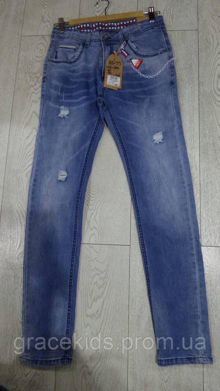 Весенние джинсы с дырками для мальчиков подростковые GRACE,разм 134-164 см