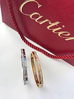 Браслет Картьер люкс копия 1:1 с камнями лимонное золото 17 размер