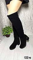 Женские зимние замшевые ботфорты на небольшом каблуке