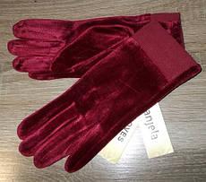 Перчатки сенсорные велюр на флисе с манжетом размер 6.5 марсала