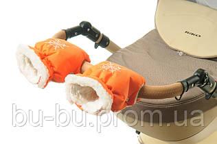Рукавички-Муфта на коляску Ok Style Снежинка Оранжевый