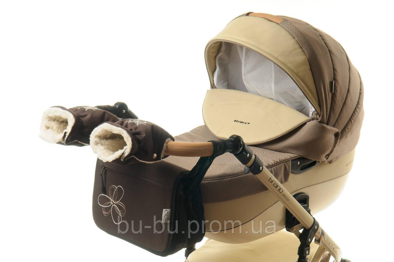 Комплект сумка и рукавички на коляску Ok Style Цветок (Темно коричневый)