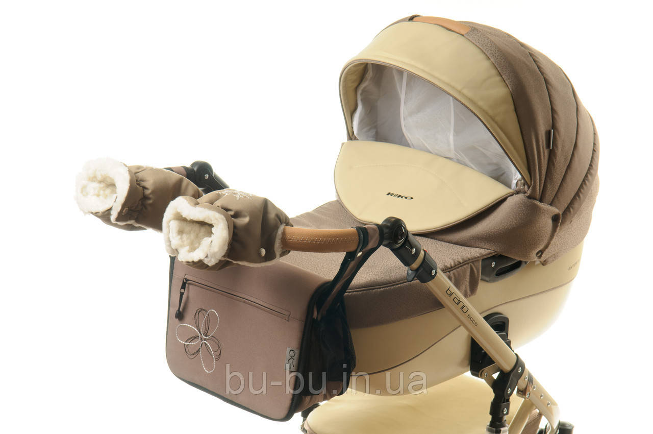 Комплект сумка і рукавички на коляску Ok Style Квітка (Капучіно)