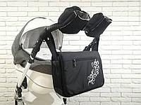 Комплект сумка и рукавички на коляску Веточка-Флис (Черный), фото 1