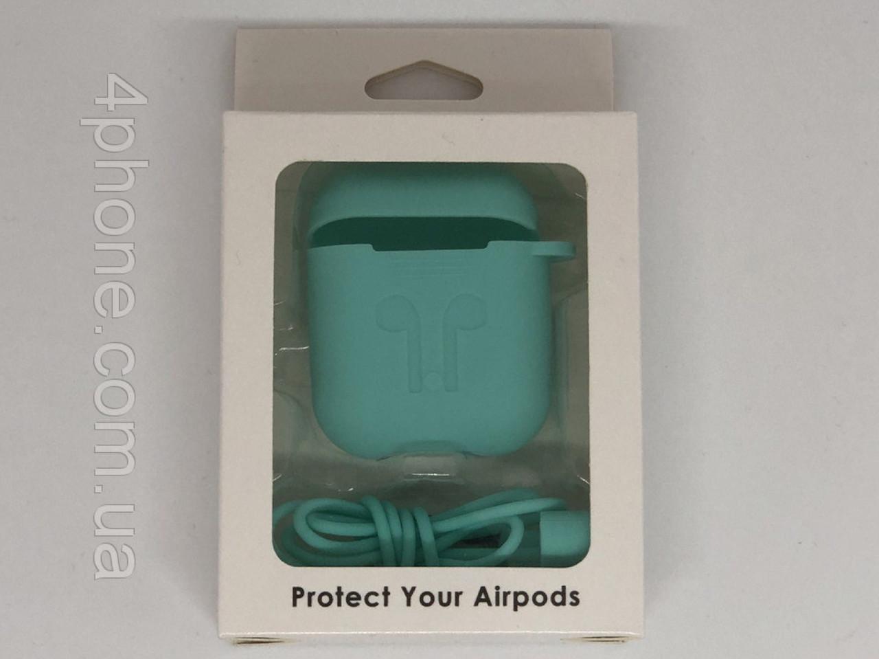 Чехол зеленая лагуна для Airpods с карабином №3