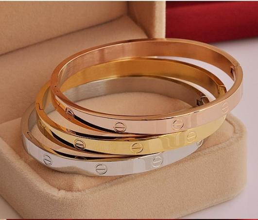 Браслет Cartier love с отверткой люкс копия 1:1 (Картье) розовое золото 19 размер