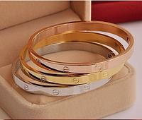 Браслет Cartier love с отверткой люкс копия 1:1 (Картье) розовое золото 19 размер, фото 1