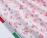 """Лоскут сатина """"Розовые розочки и жёлтые маленькие цветочки"""" на розовом, № 1746с, размер 37*62 см, фото 3"""