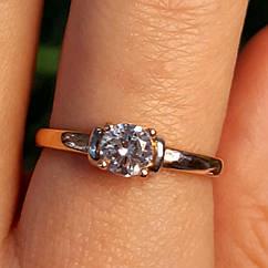 Кольцо из золота 585 пробы с фианитом  - Золотое кольцо на помолвку