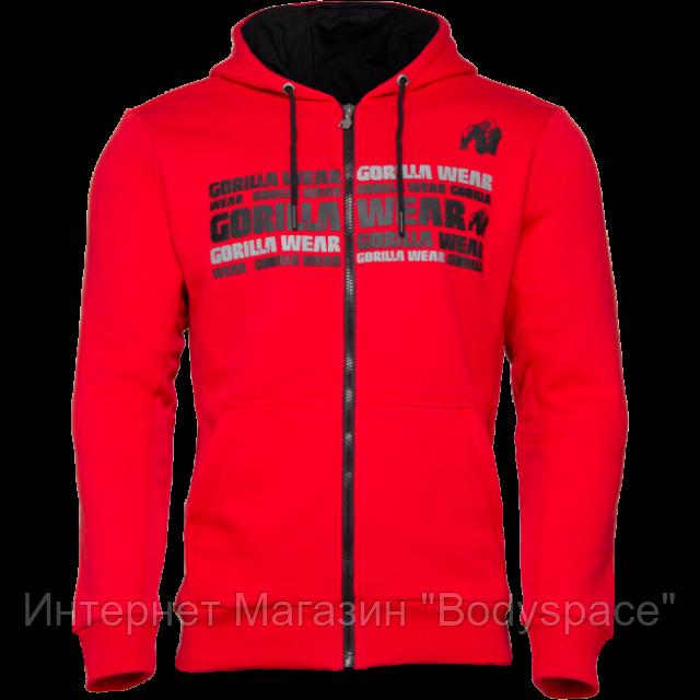Gorilla Wear, Кофта с капюшоном на замке Bowie Mesh Zipped Hoodie Red, красная