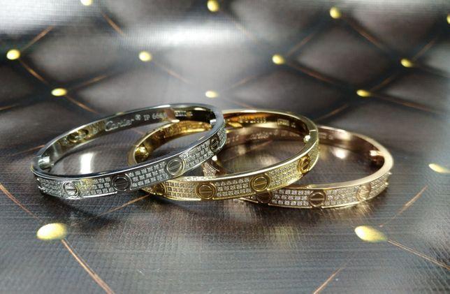 Браслет Cartier full stones 2 line люкс копия 1:1 с камнями желтое золото