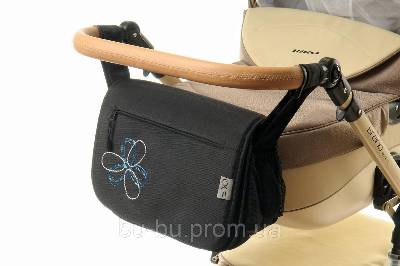 Сумка на коляску Ok Style  Черная Цветок бело-синий