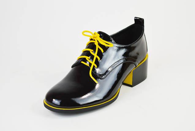 Туфли лакированные Geronea 120192 Черно-желтые, фото 2