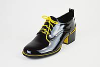 Туфли лакированные Geronea 120192 Черно-желтые