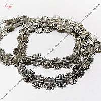 Металлическая бусина 10х9мм античное серебро круглая спираль для рукоделия
