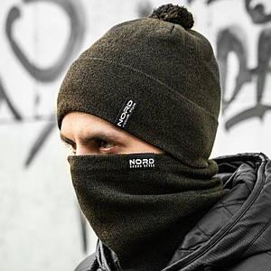 Мужская шапка + бафф зеленый хаки комплект