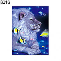 Алмазная мозайка Diy Лев и рыбки 15*25 см. Животные. Львы., фото 1