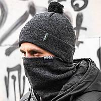 Мужская шапка + бафф серый комплект