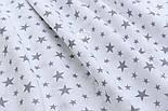 """Отрез муслина """"Звёздная россыпь"""" графитовая на белом, 53*180 см, фото 2"""