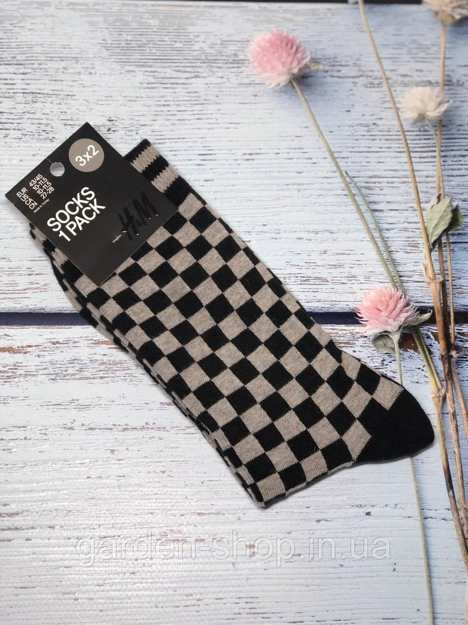 Шкарпетки чоловічі H&M із шахматним візерунком розмір 43-45 (високі)