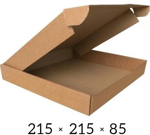Самосборная картонная коробка - 215 × 215 × 85 - бурая / объем 1,4 кг