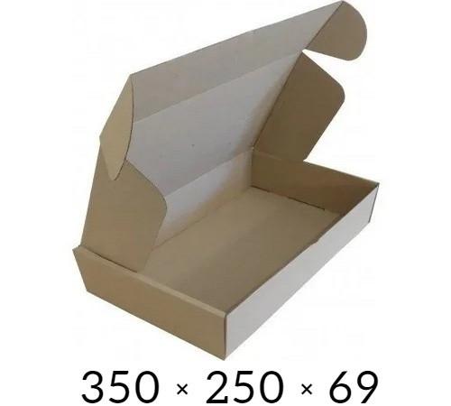 Самосборная картонная коробка - 350 × 250 × 69 - бурая / объем 2 кг