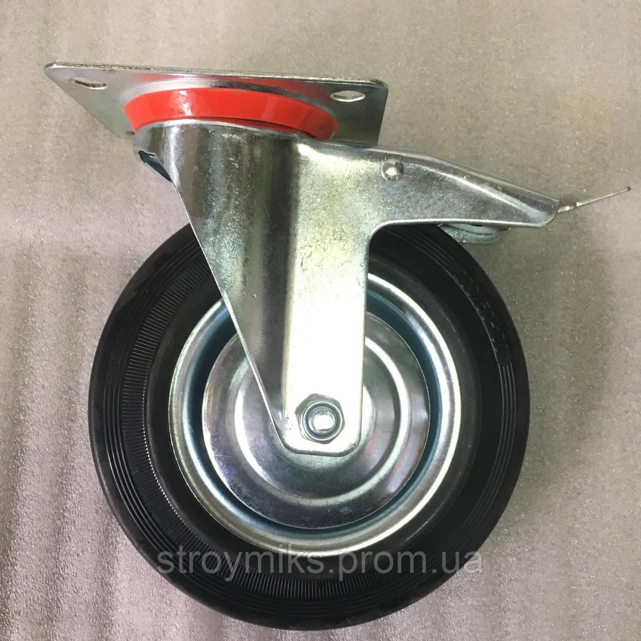 Колесо 200/50-100 мм с поворотным кронштейном и тормозом
