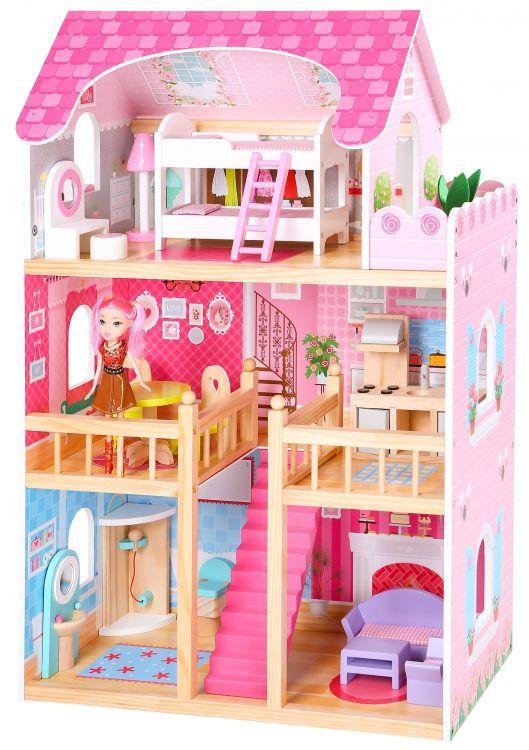 Ляльковий дерев'яний будиночок Ecotoys 4119 60 x 30 x 90 cm + аксесуари (9124)