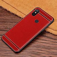 Чехол Litchi для Xiaomi Mi Mix 3 силикон бампер с рифленой текстурой красный