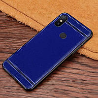 Чехол Litchi для Xiaomi Mi Mix 3 силикон бампер с рифленой текстурой синий