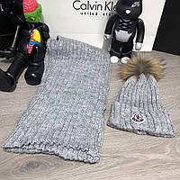 Moncler Winter Hat Knitted Pompon and Scarf Gray