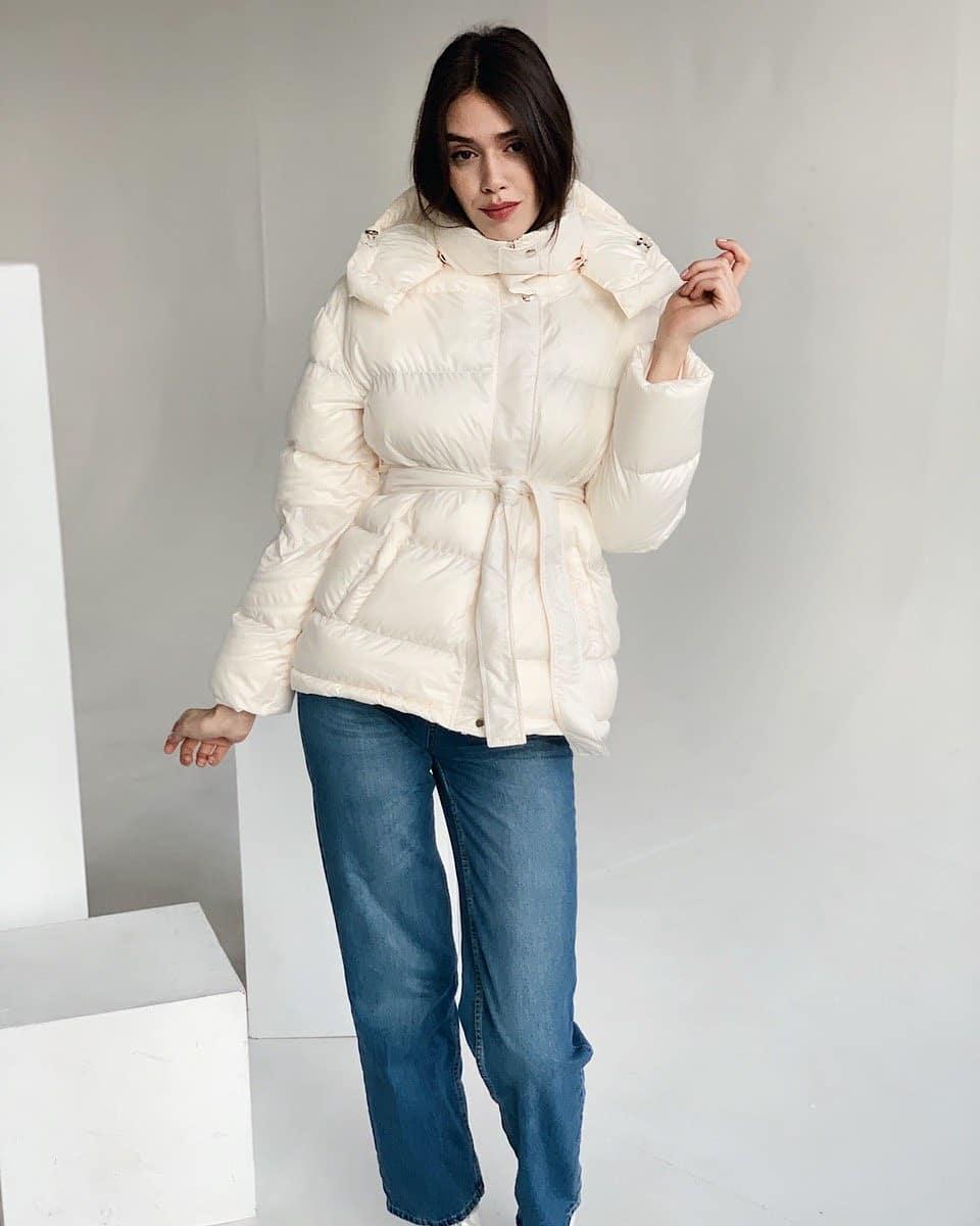 Женская куртка зефирка с поясом размер SM, LXL
