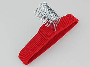 Плечики детские флокированные (бархатные) красного цвета, длина 28 см, 10 штук в упаковке