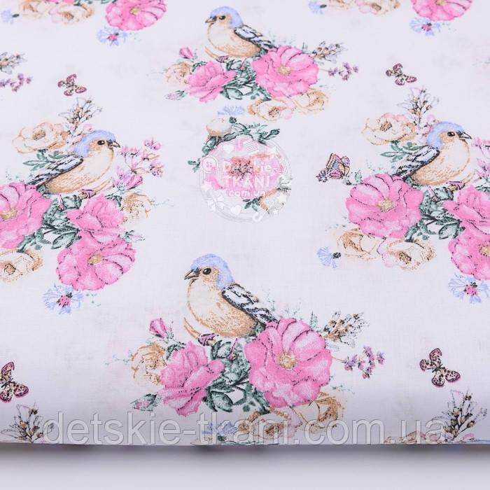 """Ткань хлопковая """"Птичка с розами"""" на белом фоне (2572)"""