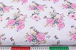 """Ткань хлопковая """"Птичка с розами"""" на белом фоне (2572), фото 2"""