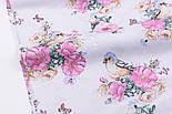 """Ткань хлопковая """"Птичка с розами"""" на белом фоне (2572), фото 4"""