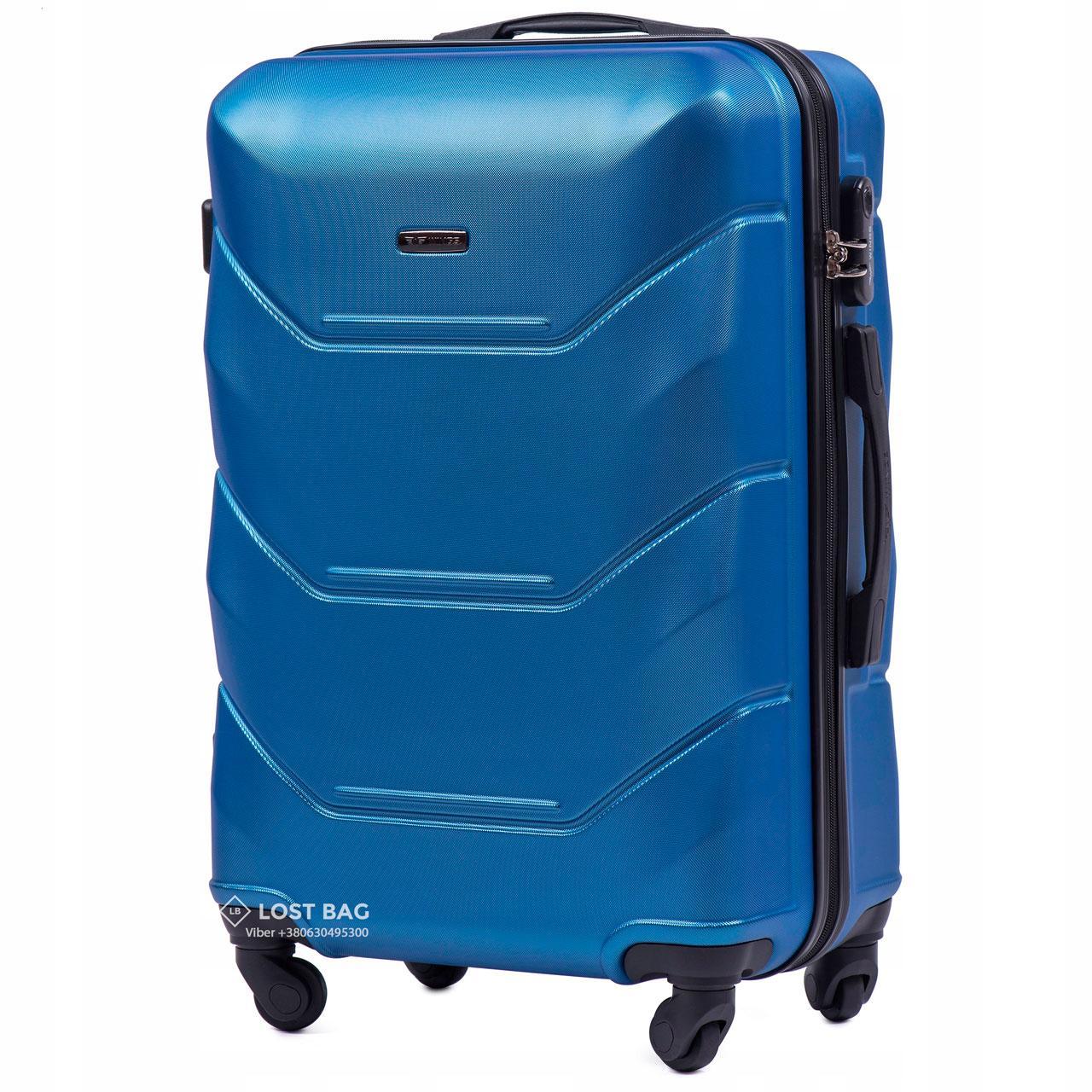 Чемодан пластиковый на 4 колесах Wings 147 Средний (M) Синий