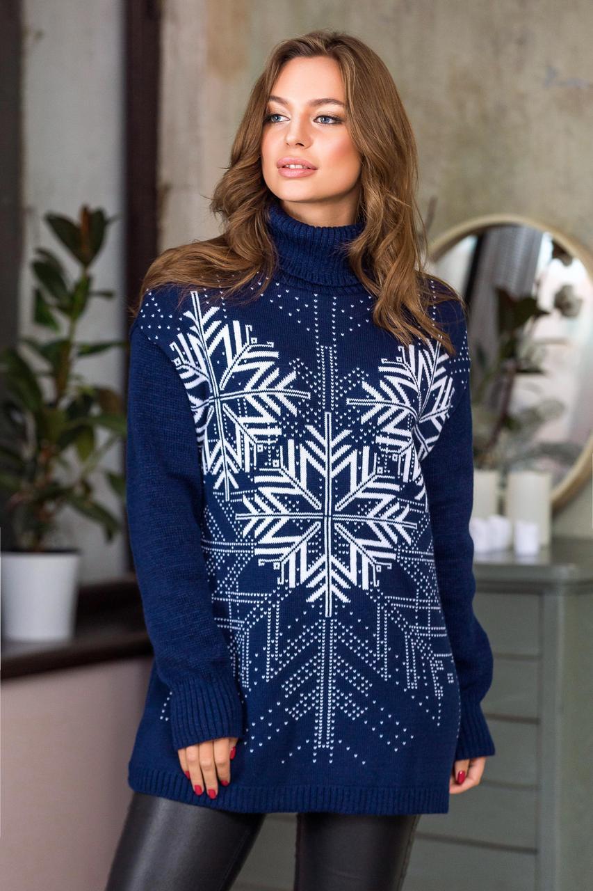 Теплый свитер со снежинками.Разные цвета