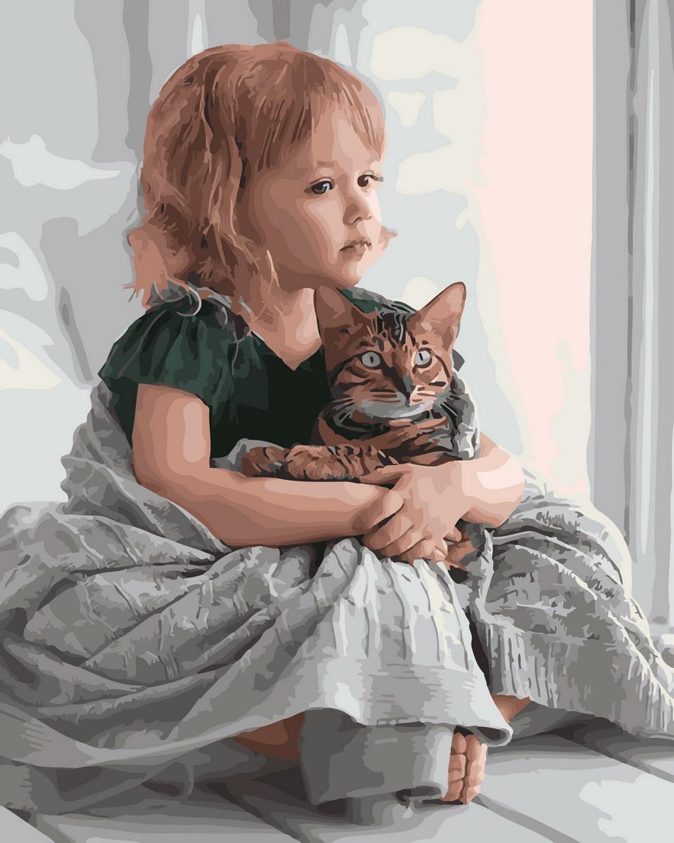 Картина по номерам  Обнимая кота 28135 40*50