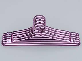 Плечики вешалки тремпеля металлические ПТ41 цвет фиолетовый металлик, длина 41 см, в упаковке 5 штук, фото 3