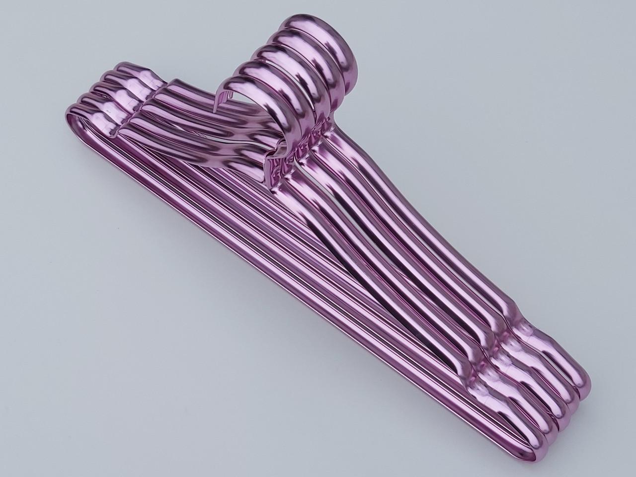 Плечики вешалки тремпеля металлические ПТ41 цвет фиолетовый металлик, длина 41 см, в упаковке 5 штук