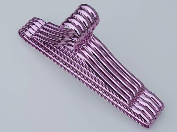 Плечики вешалки тремпеля металлические ПТ41 цвет фиолетовый металлик, длина 41 см, в упаковке 5 штук, фото 2