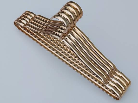 Плечики вешалки тремпеля металлические ПТ41 цвет  золото, длина 41 см, в упаковке 5 штук, фото 2
